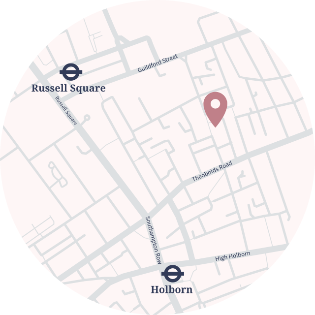 Holborn map with the Clinic and underground indication